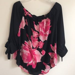 New York & Company Off the Shoulder Floral Blouse